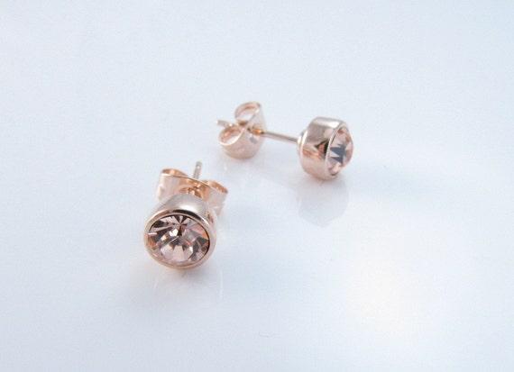Rose Gold Earrings Swarovski Crystal Champagne Stud Earrings  d3a4ccf12c