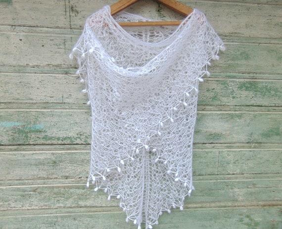 Wedding Shawl White Crochet Shawl Bride Shawl Hand Knitt Lace Shawl Wedding Cape Bride Mohair Knitted Shawl White Lace Shawl Wrap Knit