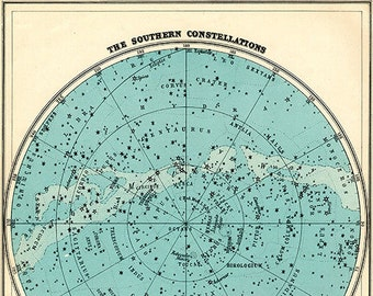 Aqua Southern Constellations Star Chart Print - SIX SIZE CHOICES
