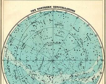 Aqua Northern Constellations Star Chart Print -  SIX SIZE CHOICES