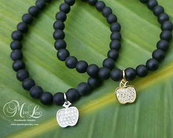 CZ Apple/Teacher Charm Bracelet with 6mm Matte Black Beads