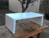15.5 quot x 30 quot x 11 quot h Table Riser Bench Centerpiece TV Entertainment Center Country White Wood Block Custom Sizes Colors Available