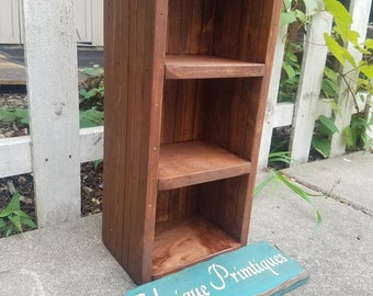 Small RUSTIC BOOKCASE Bookshelf Bathroom Kitchen WIne Crate Living Room Bedroom Storage Stackable Custom Sizes Colors English Chestnut