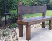 "Beautiful Reclaimed Unique Primtiques Dark Walnut Stained 19-1/2"" x 54"" x 36""h  Bench W/ Plank Back Custom Made Sizes Colors Available"