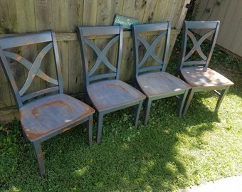 FOUR Beautiful Rustic Wood Malaysian Oak CHAIR Custom Colors Solid Wood X-Back Style Kitchen Dining Room Cobalt Cannon Paint Weathered Gray