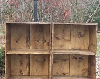 LOT Of TWO Rustic Primitive Large Dark Walnut Stain Wood Book Shelf  Bookcase Bathroom Hall Entry Kitchen 11 3/4x23x46h Custom Sizes Colors