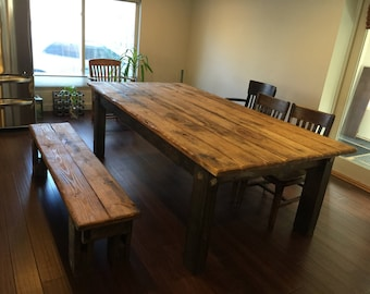 Reclaimed Wood Dining Table Etsy - Distressed wood dining table with bench