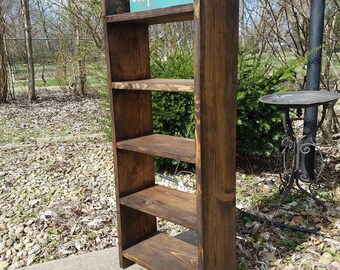 RUSTIC FARMHOUSE LADDER Bookcase Farm House Shelving Reclaimed Wood Stands Alone Storage Bookshelf Custom Sizes Colors Jewelry Shelf Unique
