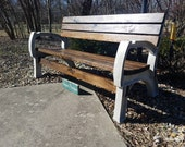 Rustic Indoor Outdoor Wood Bench With Back & Cup Holders Dark Walnut Porch Yard By Unique Primtiques Custom Sizes Colors See Drop Down Menu