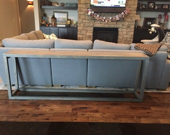 I Weathered Mid Century Modern Clean Line Framed UNIQUE PRIMTIQUES Sofa  Console Hall Entry Long Table Classic Grey 14x84x30h Custom Size Color