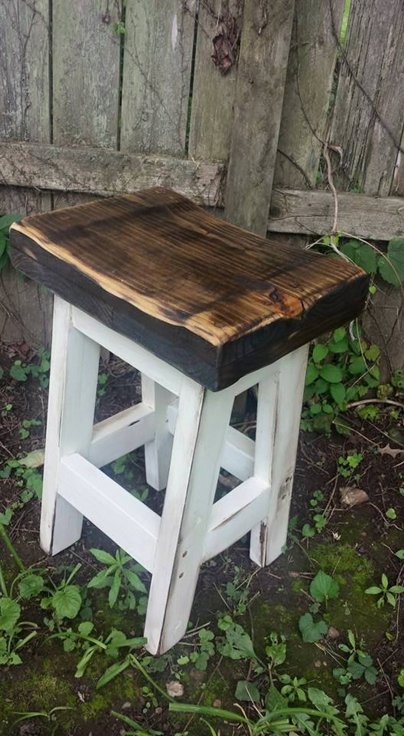 Magnificent Rustic Farmhouse Bar Stool Farm House Country Kitchen White Dark Walnut Primitive Bench Contour Seat 11 1 2 Dx16 5 W Custom Sizes Colors Dailytribune Chair Design For Home Dailytribuneorg