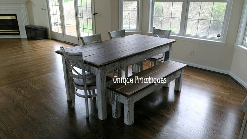 Kitchen Table And Chairs Louisville Ky Unique Rustic FARMHOUSE TABLE 12Piece SET Wood Farm House Kitchen Dining Chairs Bench Table Reclaimed Salvaged Custom Sizes Colors Solid Sturdy 8501 5