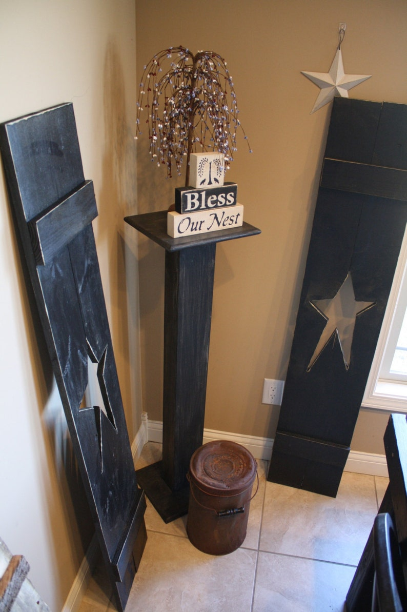 Primitive Black Distressed Indoor Outdoor Large Home Decor 5 Foot Wood Star Shutters Custom Sizes Colors Available By Unique Primtiques