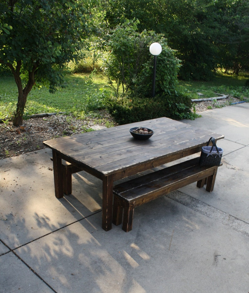 10 Foot Dark Walnut Stained Distressed Primitive Farmhouse Etsy
