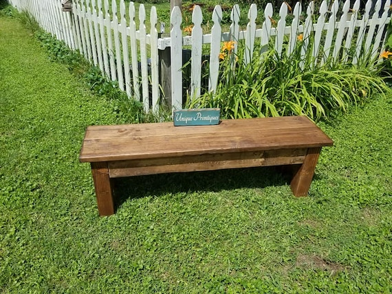 Excellent Rustic Wood Farmhouse Bench Primitive Farm House Indoor Outdoor Kitchen Dining Weather Sealed Custom Woodworking Sizes Colors Unique Camellatalisay Diy Chair Ideas Camellatalisaycom