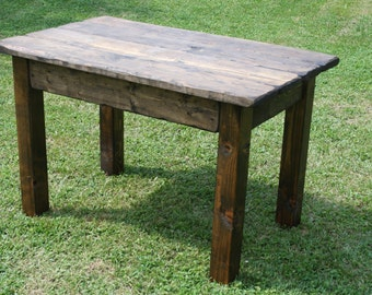 Beautiful Primitive Distressed Dark Walnut Cabin Farmhouse Small Kitchen  Dining Rustic FARM HOUSE Work Harvest Table