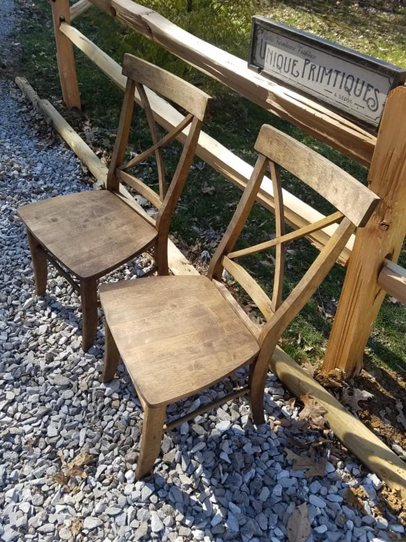 TWO Beautiful Rustic Wood Malaysian Oak CHAIRS Custom Colors Welcome Solid Wood X-Back Style Kitchen Dining Room Dark Walnut