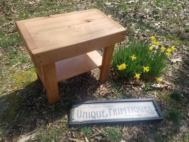 RUSTIC END TABLE Reclaimed Wood Side Fish Tank Amp Plant Night Stand Cabin Decor 15x24x24h Custom Sizes Colors