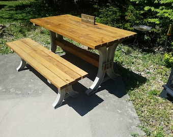 Rustic Indoor Outdoor Wood PICNIC Table Desk & One Matching Bench Custom Sizes Colors See Drop Down Menu Options 2-Year Warranty On Legs