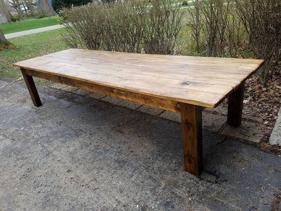 Rustic FARM TABLE Reclaimed Wood Farm House Primitive Country Cabin  Distressed Large Kitchen Table Custom Sizes Colors 6\
