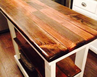 Multi Functional Tall Table American & Dark Walnut Stained Country White Kitchen Island W Center Shelf 20x43x38 Custom Sizes Colors Avail