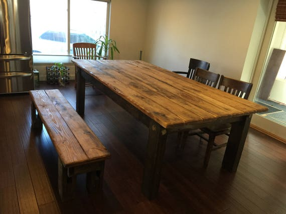 Rustic Farmhouse Table Set Large Farm House Cabin 8 Foot Etsy