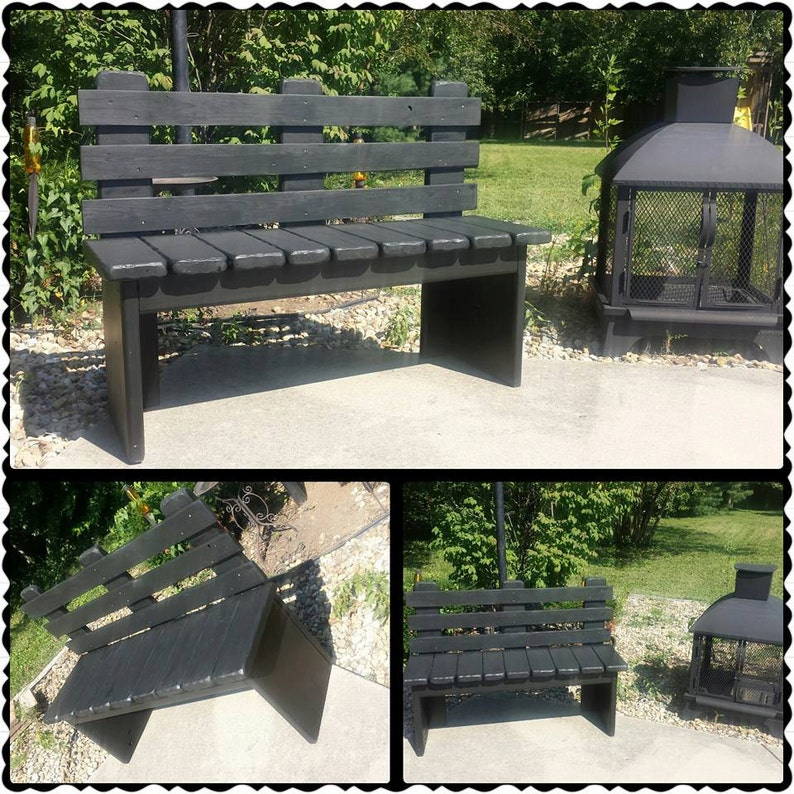 Remarkable Kettle Black Solid Wood Bench With Back 16X48X36 Porch Garden Indoor Outdoor Home Porch Rustic Seat Custom Sizes Colors By Unique Primtiques Beatyapartments Chair Design Images Beatyapartmentscom