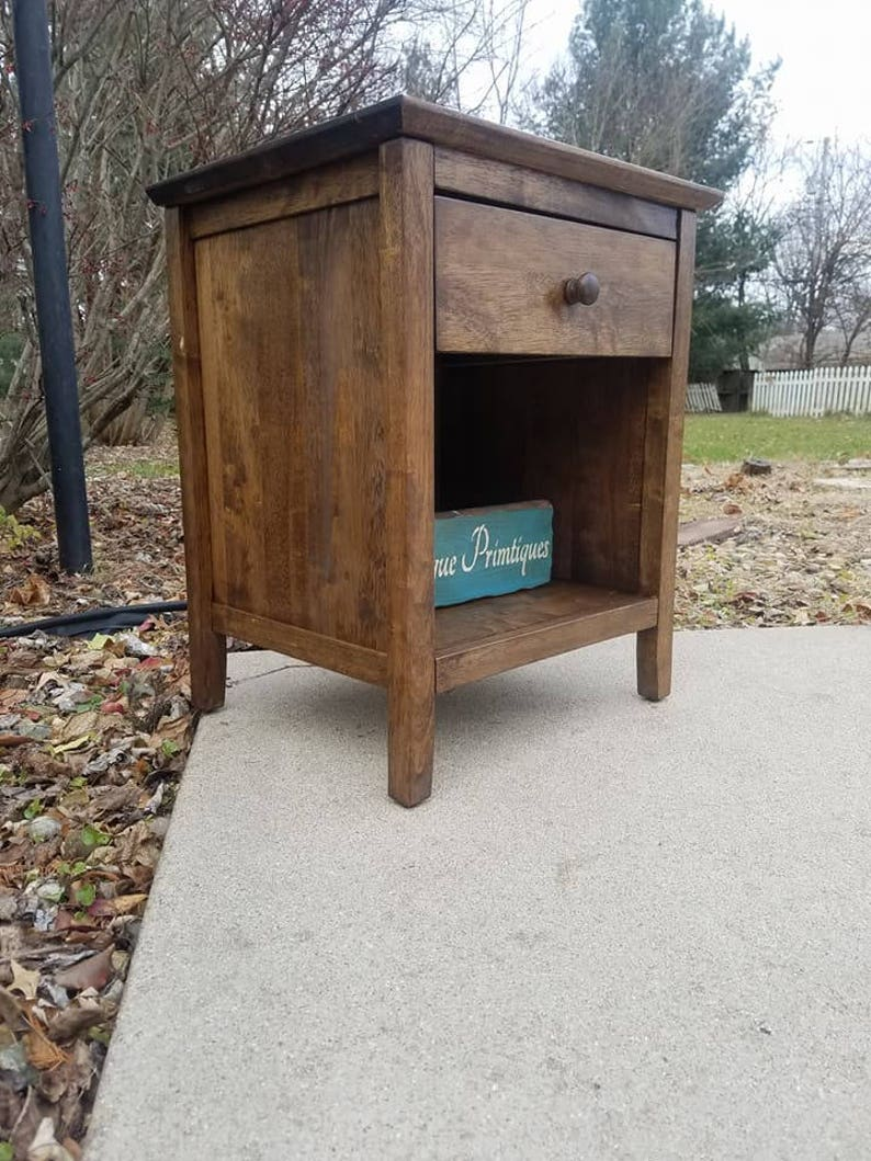 Rustic Wood Nightstand With Drawer Malaysian Solid Oak Custom Colors Welcome Fully Assembled By Unique Primtiques Printer Stand End Table