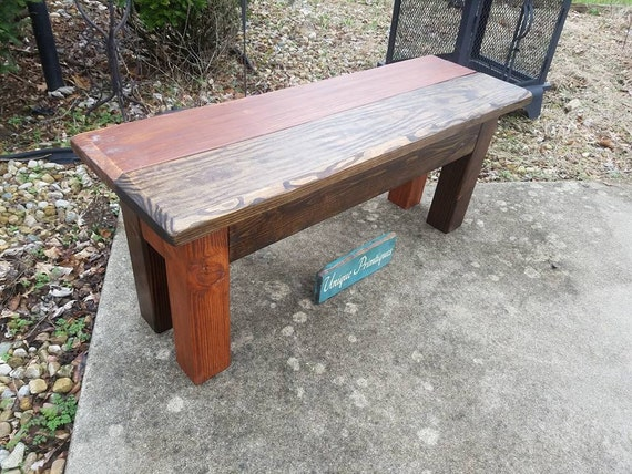 Sensational Rustic Wood Farmhouse Bench Country Farm House Reclaimed Wood Dark Walnut American Walnut Cabin Home Custom Sizes Colors Camellatalisay Diy Chair Ideas Camellatalisaycom