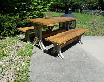Rustic Indoor Outdoor Wood PICNIC Table Desk & Two Matching Bench Custom Sizes Colors See Drop Down Menu Options 2-Year Warranty On Legs
