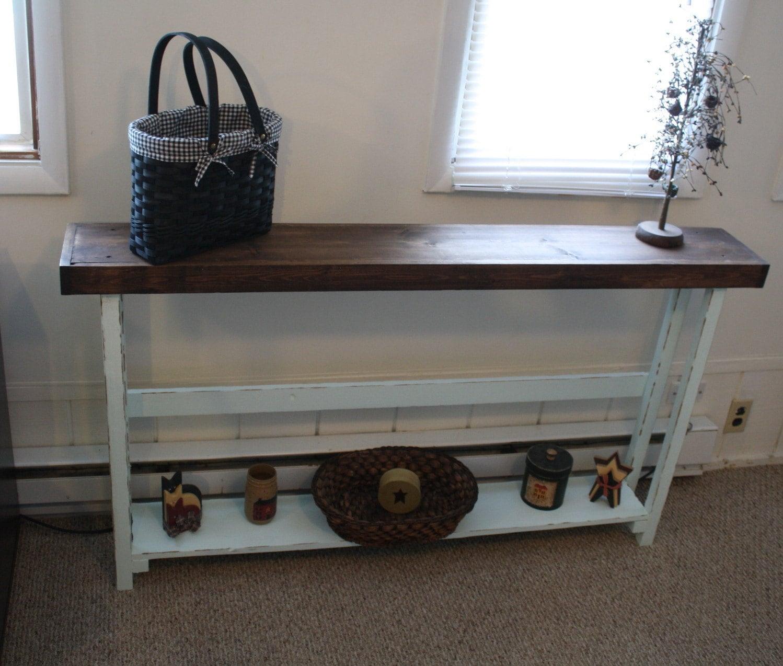 Rustic Sofa Table Entryway Narrow Long Large Dark Walnut