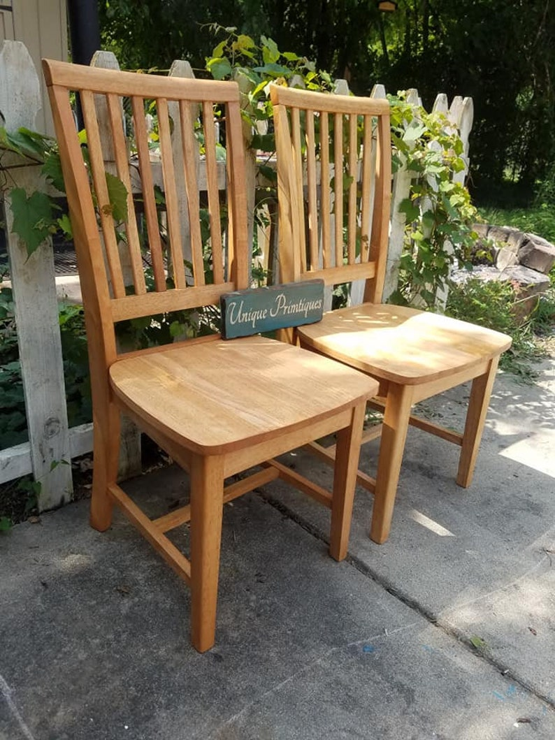 FOUR Rustic Wood Malaysian Oak CHAIRS Custom Colors Welcome By Unique Primtiques Solid Wood Slat Back Mission Style Kitchen Dining Room
