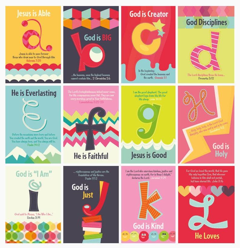 Nursery Wall Art Children's Bible Verses ABC's of image 0