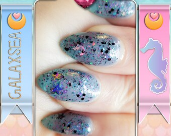 Galaxsea - A Moon and Stars Galaxy Glitter Coat Nail Polish