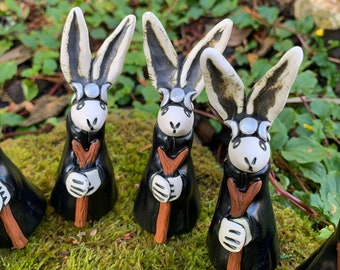Witch Hare Figurine with Silver Triple Moon Headdress