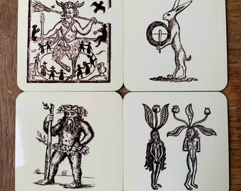 Robin Goodfellow, Hare and Tabor, Mandrajes and Green man coasters - set of 4