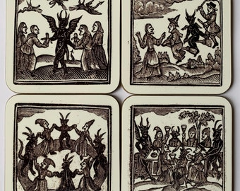 Woodcut Witches coasters - set of 4