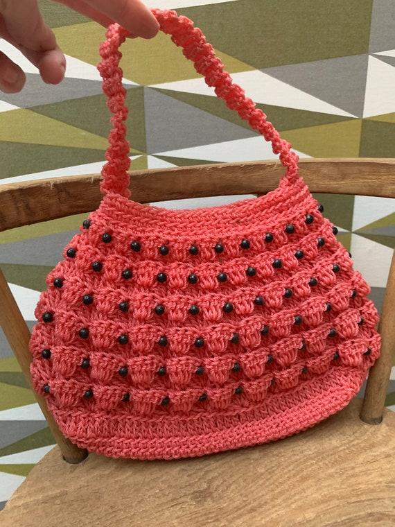 Cute Vintage 1960's Mod Pinky Red Plastic Beaded C