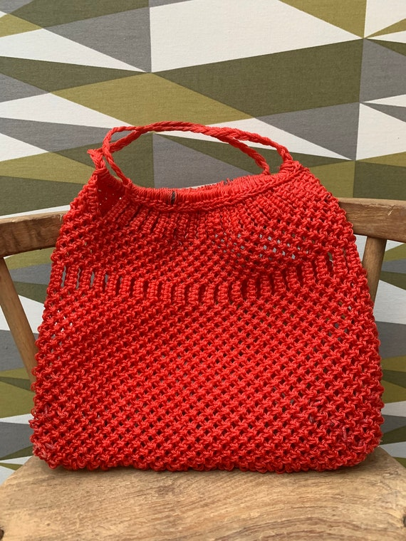 Cute Vintage 1960's Red Plastic Crochet Bag