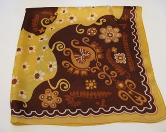 Vintage psychedelic 70's Neck/Head Scarf - Flowers - Brown/Cream/Yellow/Fawn