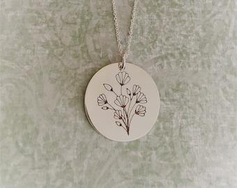 Sterling Silver Art Nouveau Flower Charm Necklace