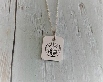 Lotus Moon Charm Necklace