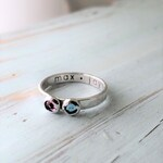 Double Birthstone Hammered Ring