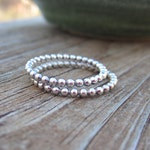 Beaded Stacking Ring - Sterling Silver - Stacking band - Accent Ring