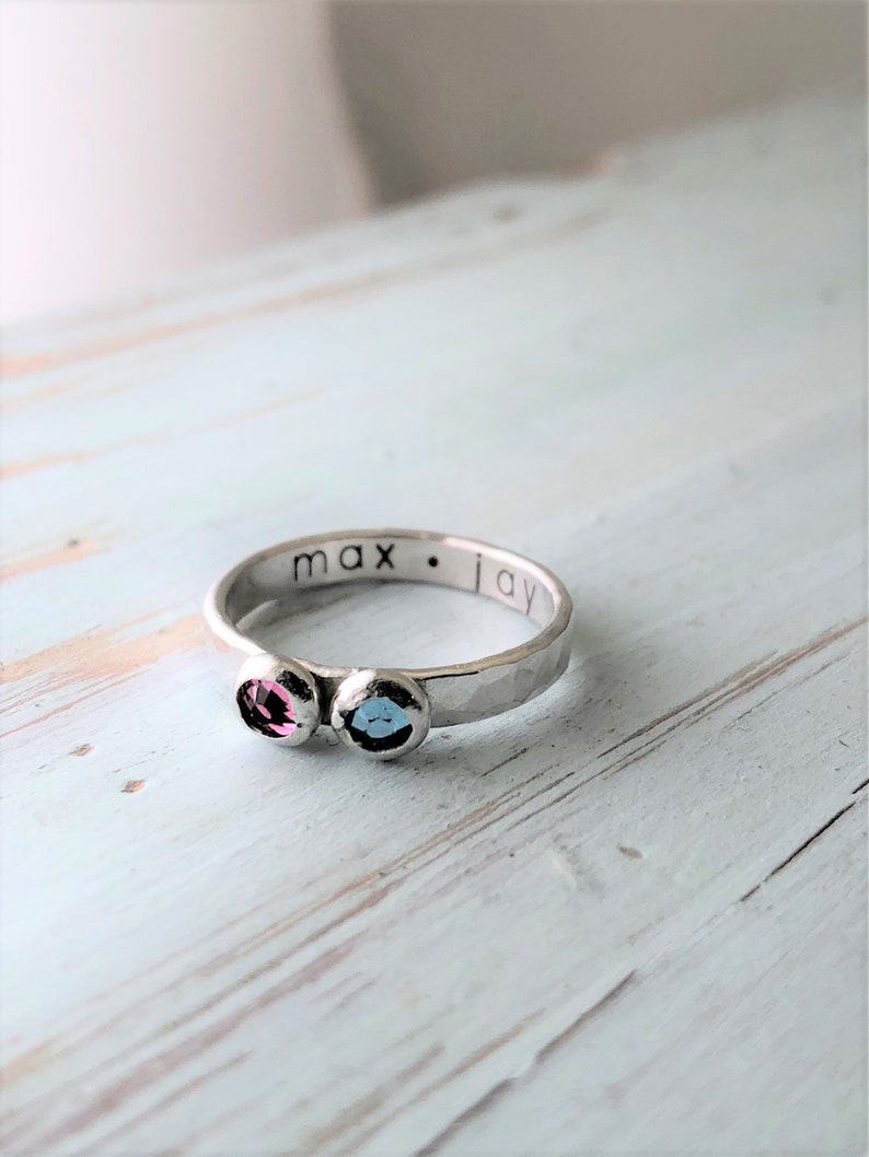 Double Birthstone Hammered Ring image 0