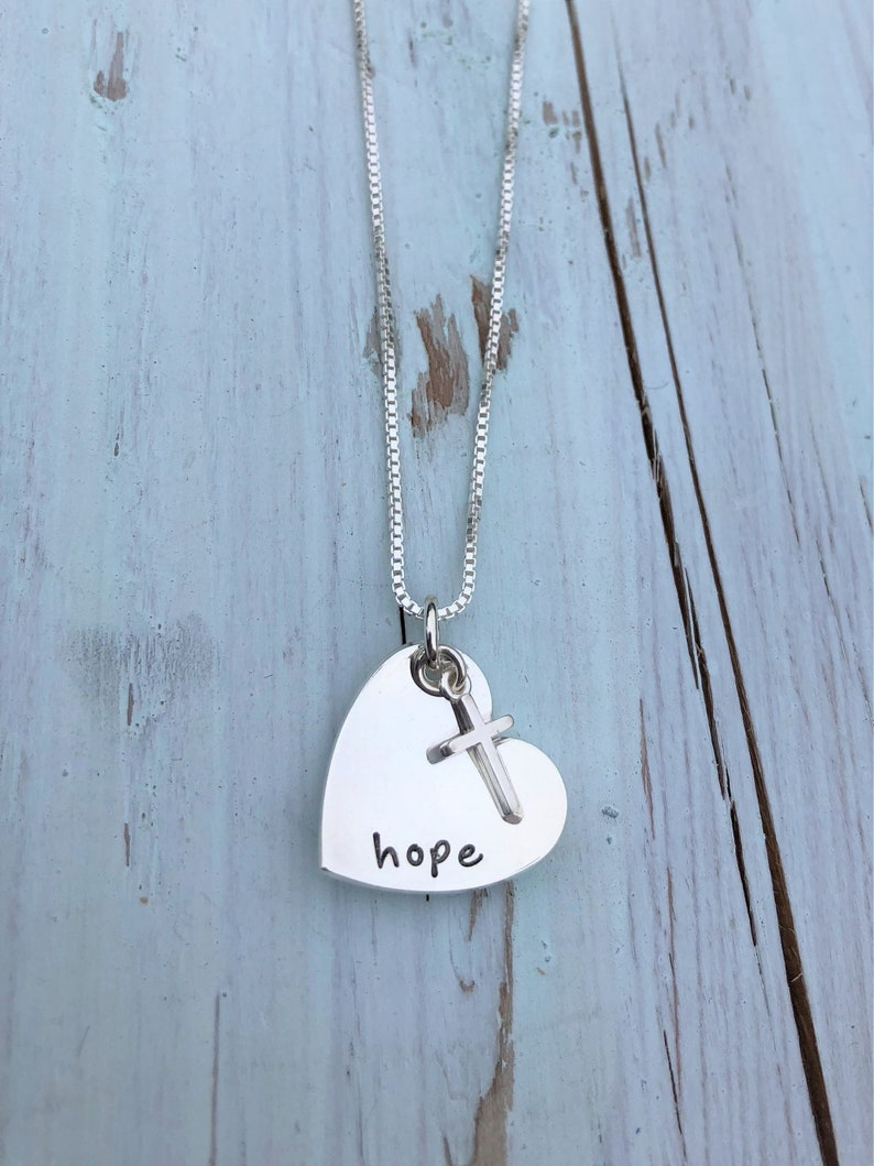 Hope Heart Necklace with Cross Charm image 0