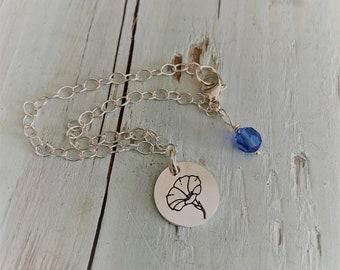 Sterling Silver Birthmonth Flower Charm Bracelet