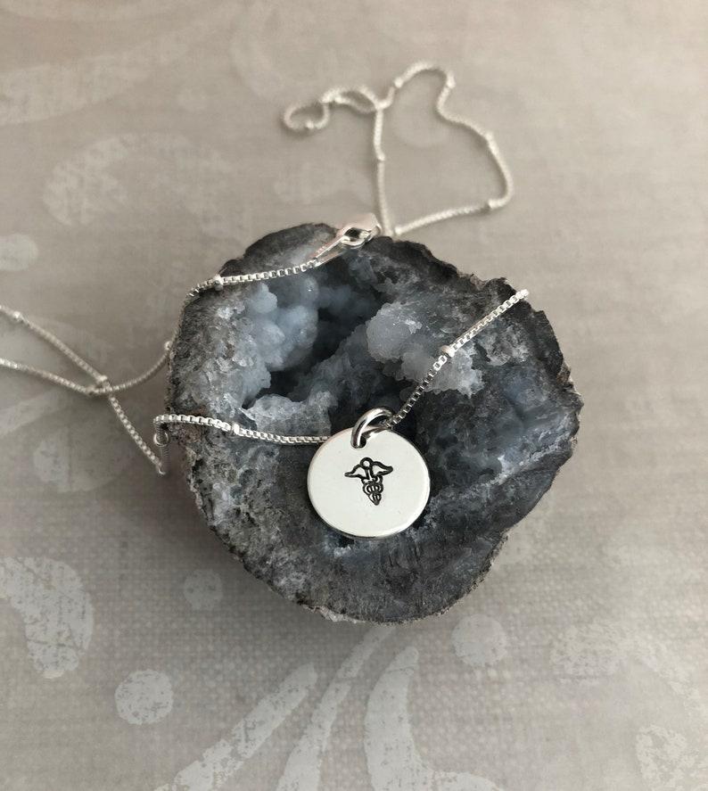 Caduceus Silver Charm Necklace image 0