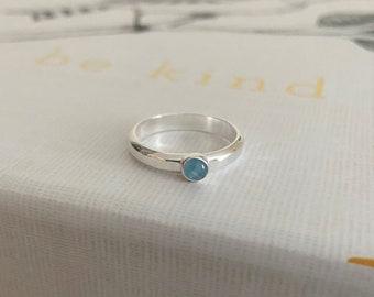 Aquamarine Gemstone and Sterling Silver Ring