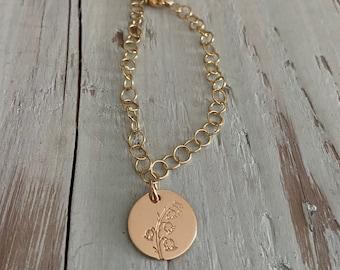 Gold Birthmonth Flower Charm Bracelet
